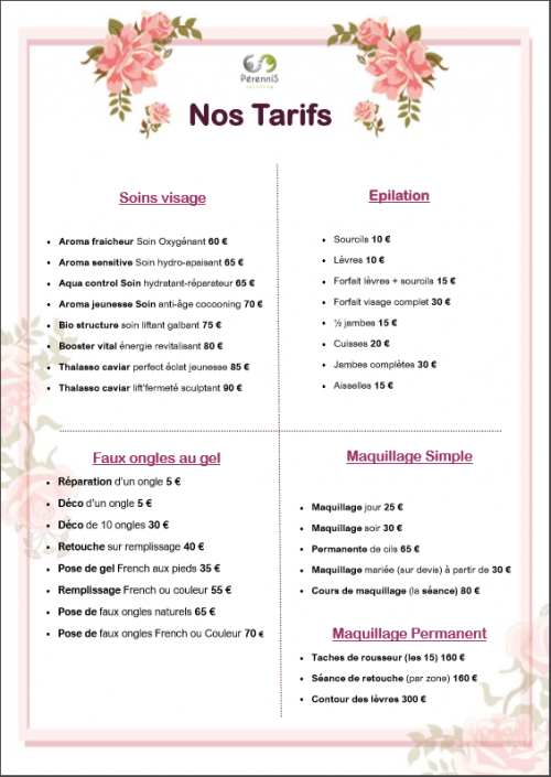 Poster de tarifs